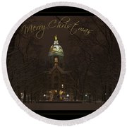 Christmas Greeting Card Notre Dame Golden Dome In Night Sky And Snow Round Beach Towel