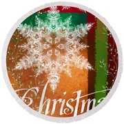 Christmas Greetings Round Beach Towel