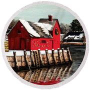 Christmas In Rockport Round Beach Towel by Eileen Patten Oliver