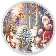 Christmas In The Forest Round Beach Towel