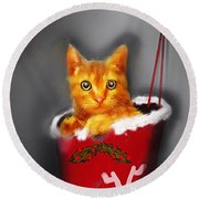 Christmas Kitten Round Beach Towel by Ken Morris
