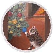 Christmas Kitty Cat Round Beach Towel