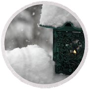 Round Beach Towel featuring the photograph Christmas Lantern by Katie Wing Vigil