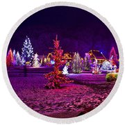 Christmas Lights In Town Park - Fantasy Colors Round Beach Towel