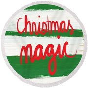Christmas Magic - Greeting Card Round Beach Towel