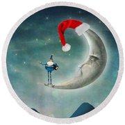 Christmas Moon Round Beach Towel