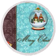 Christmas Card 13 Round Beach Towel