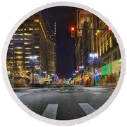 Christmas On Woodward Round Beach Towel by Nicholas  Grunas