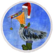 Christmas Pelican Round Beach Towel