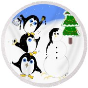 Round Beach Towel featuring the digital art Christmas Penguins by Stephanie Grant