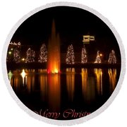 Christmas Reflection - Christmas Card Round Beach Towel