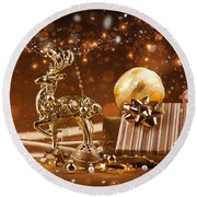 Christmas Reindeer In Gold Round Beach Towel by Doc Braham