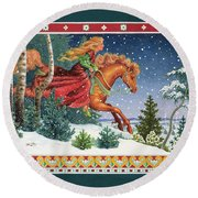 Christmas Ride Round Beach Towel