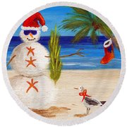 Christmas Sandman Round Beach Towel