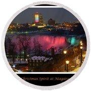 Christmas Spirit At Niagara Falls - Holiday Card Round Beach Towel by Lingfai Leung