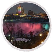 Christmas Spirit At Niagara Falls Round Beach Towel