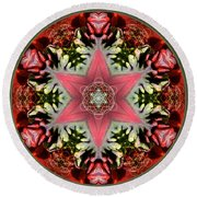 Christmas Star Round Beach Towel