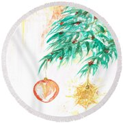 Round Beach Towel featuring the painting Christmas Star by Teresa White