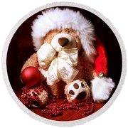 Christmas Teddy Round Beach Towel