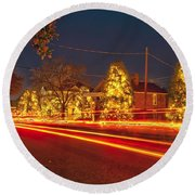 Round Beach Towel featuring the photograph Christmas Town Usa by Alex Grichenko