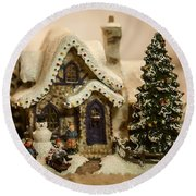 Round Beach Towel featuring the photograph Christmas Toy Village by Alex Grichenko