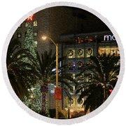 Christmas Tree At Union Square Round Beach Towel