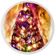 Round Beach Towel featuring the digital art Christmas Tree by Daniel Janda