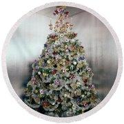 Christmas Tree Decorated By Gloria Vanderbilt Round Beach Towel