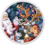 Christmas Tree-rudolph Round Beach Towel