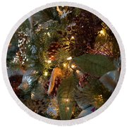 Round Beach Towel featuring the photograph Christmas Tree Splendor by Patricia Babbitt