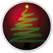 Christmas Tree With Star Round Beach Towel