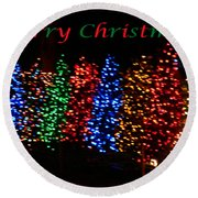 Round Beach Towel featuring the photograph Christmas Trees Dancing In The Night by Emmy Marie Vickers