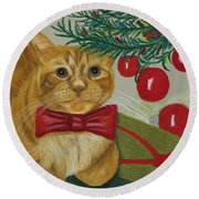 Christmas With Rufus Round Beach Towel