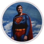 Christopher Reeve As Superman Round Beach Towel