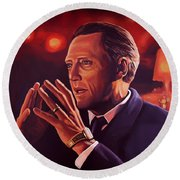 Christopher Walken Painting Round Beach Towel by Paul Meijering