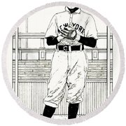 Round Beach Towel featuring the drawing Christy Mathewson by Ira Shander