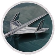 Chrome Airplane Hood Ornament Round Beach Towel