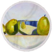 Chrome And Pears Round Beach Towel