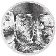 Chromed Halloween  Mummies Round Beach Towel by Belinda Lee