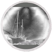 Chromed Sailboats In Key Largo Round Beach Towel by Belinda Lee