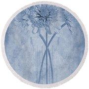 Chrysanthemum Cyanotype Round Beach Towel