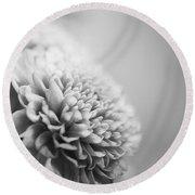 Chrysanthemum In Black And White Round Beach Towel
