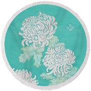 Round Beach Towel featuring the painting Chrysanthemums And Butterflies by Stephanie Grant