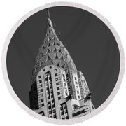 Chrysler Building Bw Round Beach Towel by Susan Candelario
