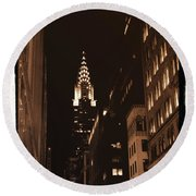 Chrysler Building Round Beach Towel by Donna Blackhall
