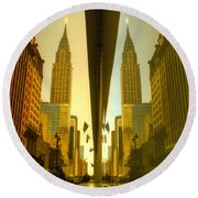 Chrysler Reflection On 42nd Street Round Beach Towel