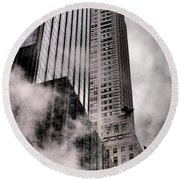 Chrysler Building With Gargoyles And Steam Round Beach Towel