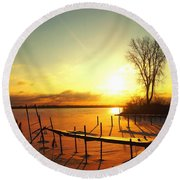 Chtistmas Dock 1 Round Beach Towel