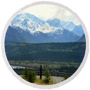 Chugach Mountains Round Beach Towel