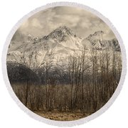 Chugach Mountains In Storm Round Beach Towel